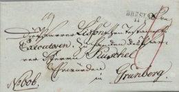 1826 BRESLAU Bf M. Papiersiegel N. Grünberg (heute Zielona Gora) - Germania