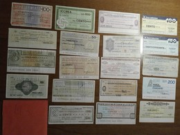 Italy Miniassegni / Emergency Check - Lot Of 19 Circulated Banknotes / Lotto 19 Miniassegni Circolati M3 - [10] Checks And Mini-checks