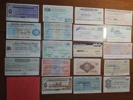 Italy Miniassegni / Emergency Check - Lot Of 19 Circulated Banknotes / Lotto 19 Miniassegni Circolati M7 - [10] Checks And Mini-checks