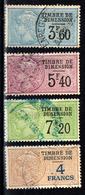 """France-Fiscal- Dimension DI N°99, 100,102 & 107 (1996) Oblitérés Type """"Médaillon De Daussy"""" - Fiscaux"""