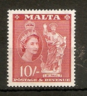 MALTA 1956 10s SG 281 VERY LIGHTLY MOUNTED MINT Cat £38 - Malta (...-1964)