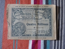 Loterie Au Profit Des Oeuvres Municipales De Roubaix 15 Mars 1908 - Billets De Loterie