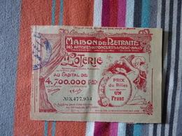 Maison De Retraite Des Artistes De Concert Et Music-hall 15 Juin 1909 - Billets De Loterie