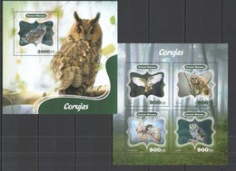 ST1073 2014 GUINE GUINEA-BISSAU FAUNA BIRDS OWLS CORUJAS KB+BL MNH - Gufi E Civette