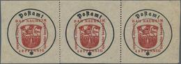 Deutsche Lokalausgaben Ab 1945: BAD NAUHEIM: 1945 40 Pfg. Rot, Versuchsdruck Im Waagerechten 3er-Str - Duitsland