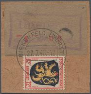 Deutsche Lokalausgaben Ab 1945: 1946. BIRKENFELD. Gebührenzettel 108 Pf In Seltener Type II Auf Brie - Duitsland
