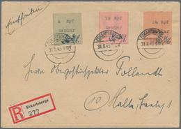 Deutsche Lokalausgaben Ab 1945: ECKARTSBERGA: 1945, 6, 12 Und 24 Rpf. Gebührenzettel Auf R-Brief Vom - Duitsland