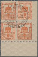 Deutsche Lokalausgaben Ab 1945: FINSTERWALDE, 1945: Wiederaufbau 8 Pf + 7 Pf, Gelblichrot Im Vierblo - Duitsland