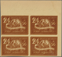 Deutsche Lokalausgaben Ab 1945: LÜBBENAU, 1946, 24 + 56 Pf Orangebraun, Ungezähnter Viererblock Von - Duitsland
