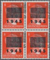 Deutsche Lokalausgaben Ab 1945: NETSCHKAU-REICHENBACH: 1945, 8 Pfg. Mit DOPPELAUFDRUCK Des Gitterauf - Duitsland