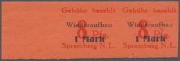 Deutsche Lokalausgaben Ab 1945: SPREMBERG 1946: 8 Pfg. + 1 M. Im Postfrischen Waagerechten Paar Aus - Duitsland