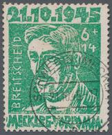 """Sowjetische Zone - Mecklenburg-Vorpommern: 1946, 6+14 Pf Smaragdgrün Sauber Gestempelt """"SCHWERIN 21. - Sovjetzone"""