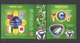 ST1089 2014 GUINE GUINEA-BISSAU SPORT FOOTBALL WORLD CUP BRAZIL GROUP C KB+BL MNH - 2014 – Brasile