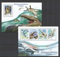 ST1100 2014 GUINE GUINEA-BISSAU FAUNA REPTILES MARINE PREHISTORIC ANIMALS KB+BL MNH - Briefmarken