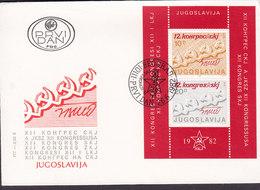 Yugoslavia Ersttags Brief FDC Cover 1982 Block 21 Miniature Sheet Kongress - FDC