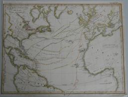 Landkarten Und Stiche: 1835 (ca): Original, Period Map Of The Exploration Of The Americas Via The At - Geographie