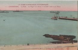 CPA 50. CHERBOURG. La Rade, La Digue Et La Grande Jetée Et Son Phare - Cherbourg