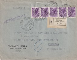 ITALIE 1953 LETTRE RECOMMANDEE DE GENOVA AVEC CACHET ARRIVEE NÜRNBERG - 6. 1946-.. Repubblica