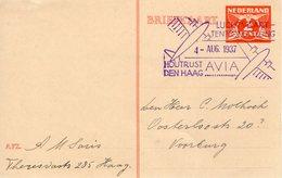4 AUG 1937 Luchtvaarttentoonstelling AVIA Op Bk  Naar Voorburg - Poststempel