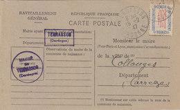 TERRASSON : CARTE DE RAVITAILLEMENT GENERAL.TIMBREE  OBLITEREE.1947 T.B.ETAT - Sonstige Gemeinden