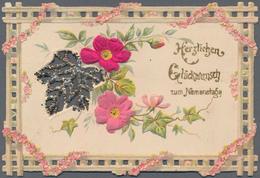 Varia (im Ansichtskartenkatalog): GLÜCKWUNSCHKÄRTCHEN / NAMENSTAG, 16 Dekorative Historische Glückwu - Andere Sammlungen