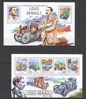 ST1169 2014 GUINE GUINEA-BISSAU TRANSPORT CARS 70TH ANNIVERSARY LOUIS RENAULT KB+BL MNH - Voitures