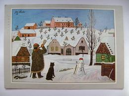Czech Painter Josef Lada - Czech Winter - Village, Night Watchman, Dog, Snowman - Posted 1990 - Pittura & Quadri