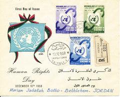 Libya Registered FDC 10-12-1958 Sent To Bethlehem Jordan With Cachet And Several Postmarks On The Backside Of The Cover - Libya