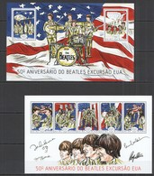 ST1182 2014 GUINE GUINEA-BISSAU MUSIC 50TH ANNIVERSARY BEATLES TOUR IN USA KB+BL MNH - Music