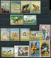 (CL 118 - Lot 68) Ajman **, Ob - Lot Animaux : éléphants, Lion, Rhinocéros, Guépard, Gnou, Chiens, Etc... - Ajman
