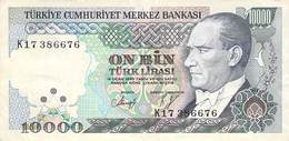 10000 Türk Lira Banknote Türkei VF/F (III) 1970 - Türkei
