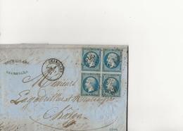 LETTRE AFFRANCHIE AVEC BLOC DE 4 N° 22 - OBLITERE GROS CHIFFRES 903- CHAROLLES - 1864-COTE:150 € - Postmark Collection (Covers)