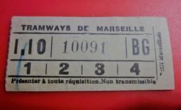 TRAMWAY DE MARSEILLE Avant 1900 -Titre De Transport Billet Ticket Simple Chemins De Fer- Marseille- MORALE AU VERSO LIRE - Tram