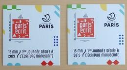 2 COLLECTORS 15 MAI 2019 1ERE JOURNEE DEDIEE A L'ECRITURE MANUSCRITE - MTAM-2019-2 - LETTRE VERTE + INTERNATINAL - NEUFS - France