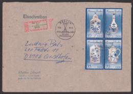 Meissner Porzellan Porcelan, FDC DDR 3241II R-Brief Berlin, 250 Jahre Zwiebelmuster, Vase Kanne  Meißner Schwerter - [6] Oost-Duitsland