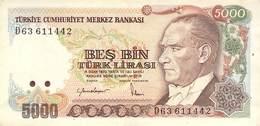 5000 Türk Lira Banknote Türkei VF/F (III) 1970 - Turchia