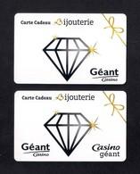 2 Carte Cadeau GEANT CASINO.   Gift Card. - Cartes Cadeaux