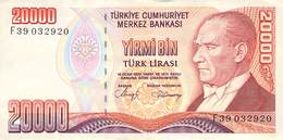 20000 Türk Lira Banknote Türkei VF/F (III) 1970 - Turchia