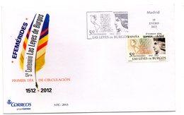 Carta Con Matasellos Commemorativo La Leyes De Burgos.2013 - 1931-Hoy: 2ª República - ... Juan Carlos I
