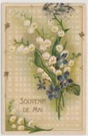 Prägekarte Mit Blumenmotiv - Maiglocken - Gelaufen Ab Nice - Souvenir De Mai - Fleurs