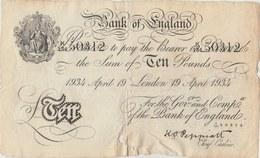 Bank Of England - Ten Pounds - 1934 ( See Reverse ) 1 - …-1952 : Before Elizabeth II