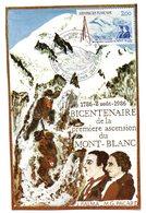 Tarjeta Postal  Con Matasellos Commemorativo Bicentenario De La Premiere Ascension Mont-.blanc - Cartas Máxima