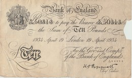 Bank Of England - Ten Pounds - 1934 ( See Reverse ) 2 - …-1952 : Before Elizabeth II