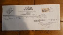 FACTURE 1934 L'URBAINE COMPAGNIE ASSURANCE 10 BD HAUSSMANN PARIS - 1900 – 1949