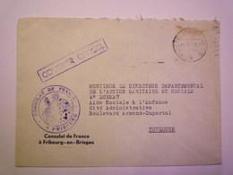 """GP 2019 - 1354  Enveloppe Du Consulat De France à FRIBOURG  """"COURRIER OFFICIEL""""  XXX - Franchise Militaire (timbres)"""