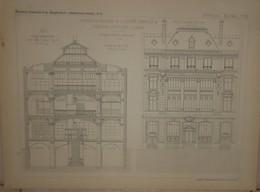Plan Des Bureaux Et Magasins De La Société Générale De Librairie Catholique à Paris.Eugène Dupuis, Architecte.1884. - Obras Públicas