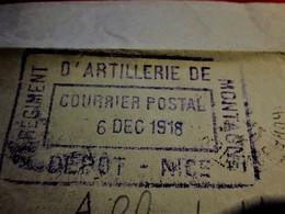 6-12-1918-CADM 21é Régiment ARTILLERIE & MUNITIONS-DÉPÔT NICE-COURRIER POSTAL Marcophilie Lettre FM Guerre 1914-18 P/AIX - WW I