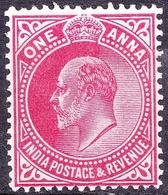 INDIA 1907 KEDVII 1 Anna Carmine SG150 MH - 1902-11 King Edward VII