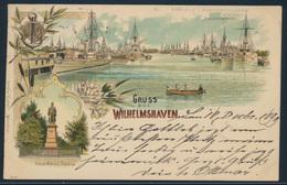 Ansichtskarte Seefahrt Schiff Marine Litho Wilhelmshaven Bahnpost Nach Ulm 1899 - Bateaux