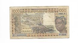 AFRIQUE OUEST / 1000 FRANCS 1981 - LETTRE T - Billetes